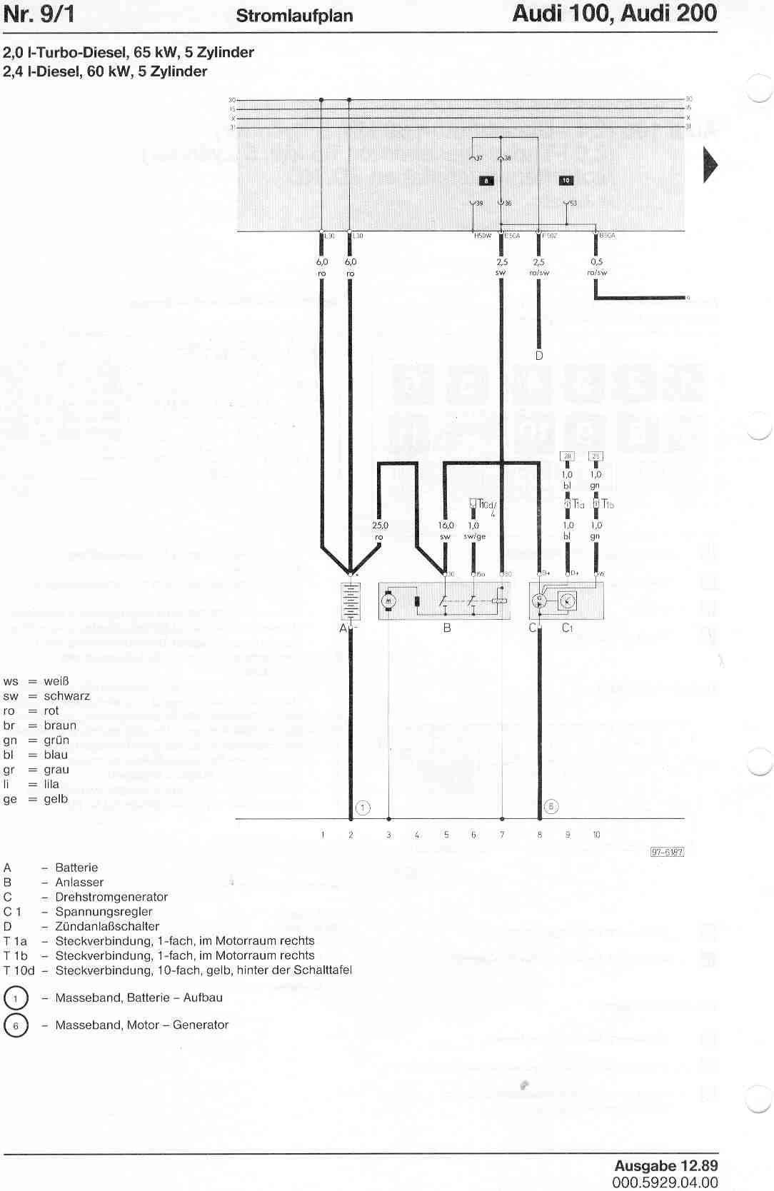 Audi 200 Wiring Diagram Electrical For A6 100 Factory Diagrams 2006 Fuse