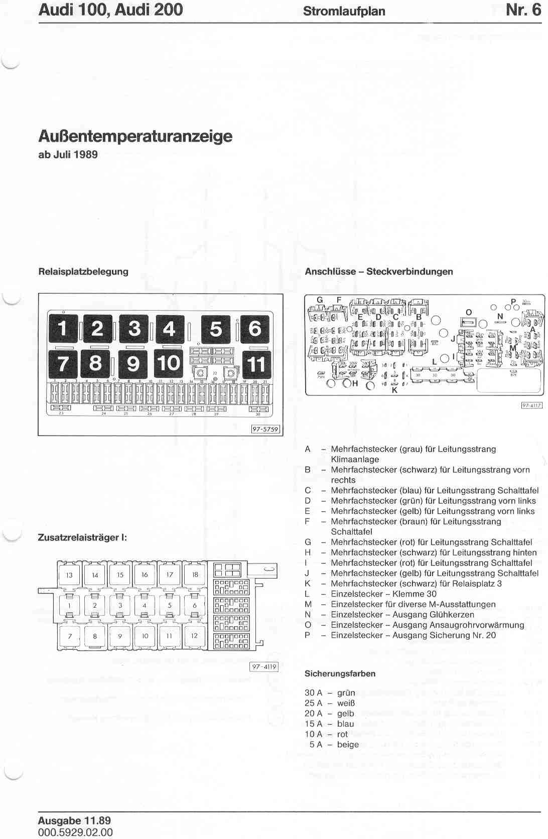 1984 Audi Quattro Wiring Diagram Electrical Diagrams 1989 4000 S Main Fuse Box 100 200 Factory 1986